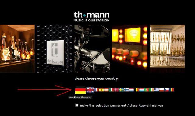 Внешний вид сайта интернет магазина thomann.de