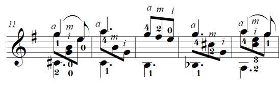 Тарантелла Сергея Касюхина. Нотный фрагмент. Такты 11-15
