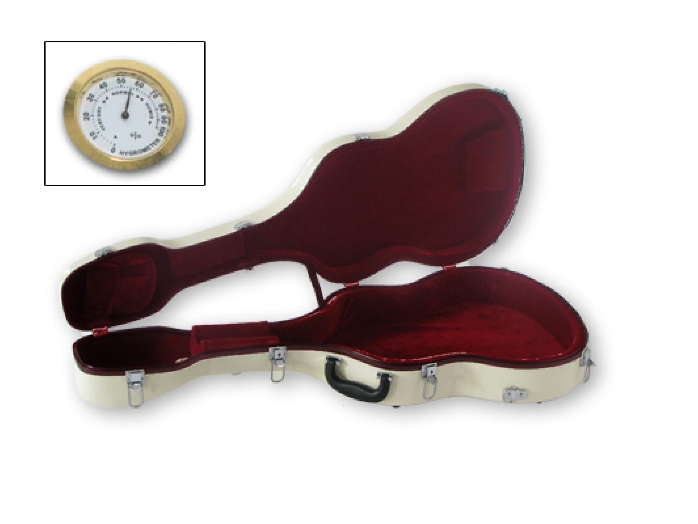 Некоторые гитарные футляры оборудованы прибором гигрометром для измерения влажности воздуха внутри футляра